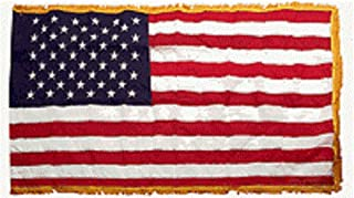 AES 3x5 USA American US 50 Star Poly Nylon Sleeve w/Gold Fringe Flag 3'x5' Banner House Banner Double Stitched Fade Resistant Premium Quality
