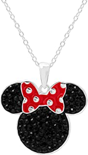 Disney Women's Jewelry Minnie Mouse Head Silver Plated Black Crystal Pendant, 18