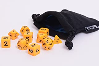 10 Piece Yellow Opaque Polyhedral Dice Set - Includes Four Six Sided Dice (D6) and Free Small Dice Bag