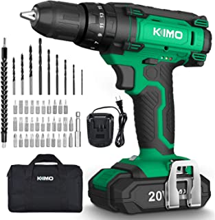 Cordless Drill Driver Kit - 20V Impact Drill Set w/ 2.0Ah Li-Ion Battery & Charger, 350 In-lb Torque, 0-1350RMP Variable S...