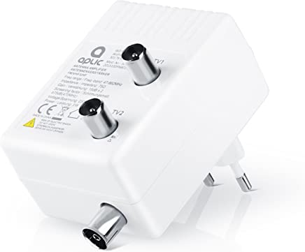 Aplic - Amplificatore antenna TV / Amplificatore a 2 uscite | amplificazione + 15dB/uscita | Full HD| DVB-T / DVB-T2 | DVB-C | Radio (UHF, VH 10F, UKW)