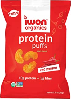 IWON Organics Red Pepper Flavor Protein Puff, High Protein and Organic, 8 Bags