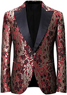 YOUTHUP Mens Slim Fit Floral Blazer Peak Lapel Party Dance Tuxedo Dress Jackets Elegant Chic Blazer