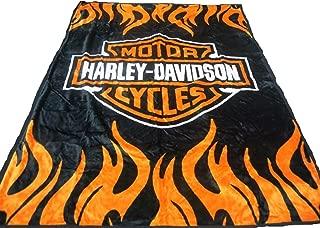 Elegant Comfort Super Soft Plush Classic Black Harley Davidson Blanket/Throw Full or Queen Size -%100