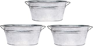 """Hosley 3 Pack of Galvanized Oval Planters - 8"""" Long. Ideal Gift and Use for Weddings Special Events Parties Outside Plante..."""