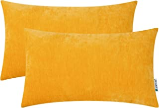 HWY 50 Decorative Lumbar Throw Pillows Covers Soft Cozy Chenille Solid Yellow Rectangle Pillows Covers Set Cushion Cases f...