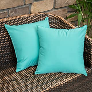 MIULEE Pack of 2 Decorative Outdoor Waterproof Pillow Cover Square Garden Cushion Case PU Coating Throw Pillow Cover Shell for Tent Park Couch 18x18 Inch Light Green