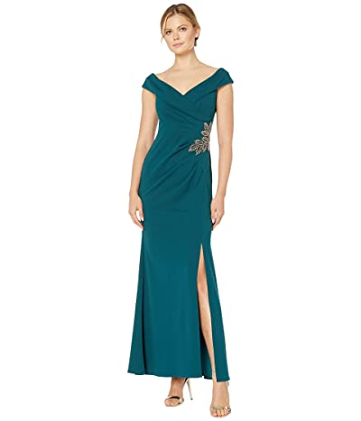 Alex Evenings Long Off-the-Shoulder Fit-and-Flare Dress (Emerald) Women