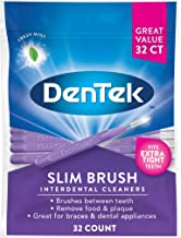 DenTek Slim Brush Interdental Cleaners | Brushes Between Teeth | Extra Tight Teeth | Mouthwash Blast Flavor | 32 Count