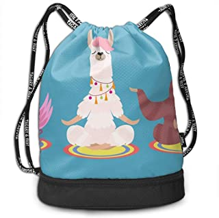 Backpack Drawstring Bag Llama And Flamingo Isolated On A Blue Background. Vector Illustration Gym Drawstring Bags