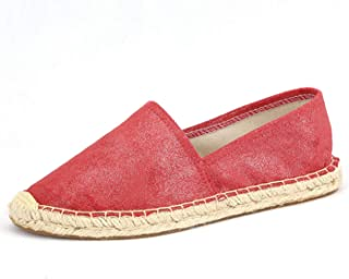 Espadrille Flats for Women, Slip on Espadrille Loafers Sneakers Shoes Navy Blue Tan Brown Rose Gold Silver Red Ladies Canvas/Faux-Suede Espadrilles for Women (04-9-86 / Watermelon Red, US-9)