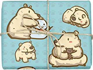 Polli The Polar Bear - Design Gift Wrapping Paper | For Baby Showers, Kids Birthdays, Christmas Gifts | Unique Unisex Print | Wrap A Birthday Parcel & Present | 5 Sheets | 20 x 28 Inches