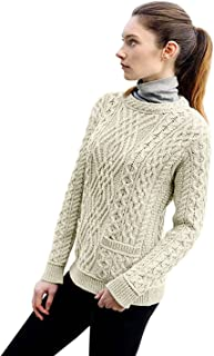 West End Knitwear Ladies 100% Irish Merino Wool Cable Crew Sweater with Pockets (Natural, Medium)