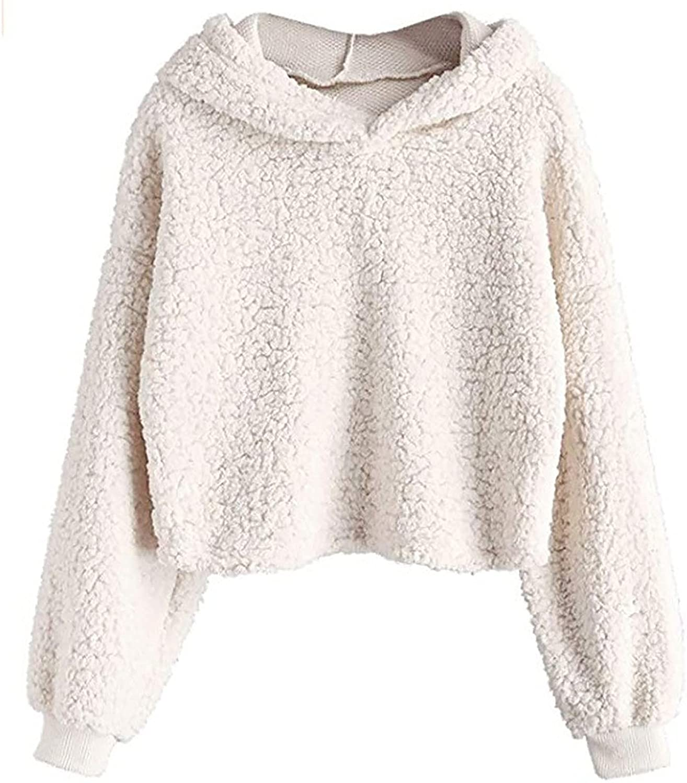 Cute Fleece Max 66% OFF Crop Hoodies for Teen Long Girls Solid Sleeve Color Max 41% OFF