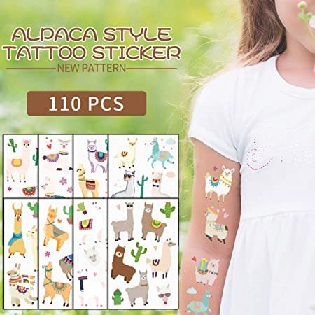 Llama Temporary Tattoos Party Favors Kids Cute and fun Cactus Drama Llama themed birthday party Supplies 10sheets