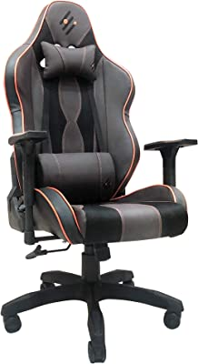 Gaming Chair Racing Office Computer Game Chair Ergonomic Backrest and Seat Height Adjustment Recliner Swivel Rocker with Headrest and Lumbar Pillow E-Sports Chair (Brown)