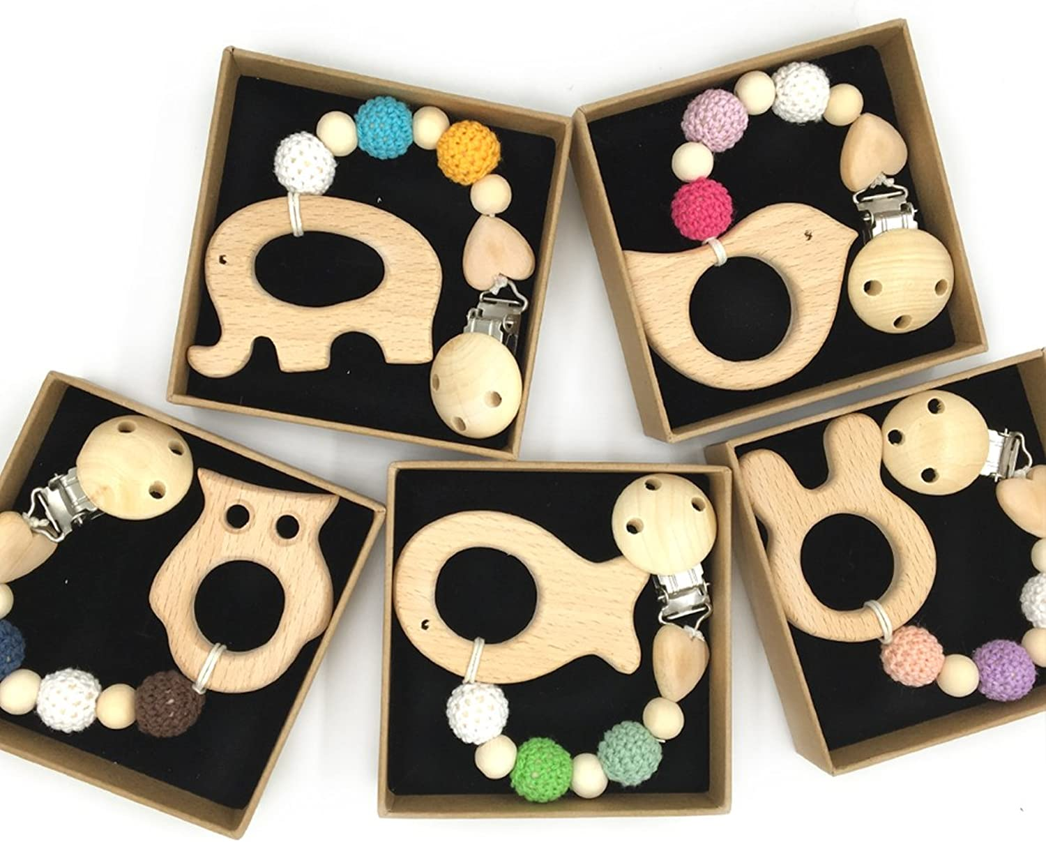 Amyster 5pcs Baby Wood Pacifier Clip Pendant Nature Wooden Teething Chewable Safe Holder Infant Gift Unisex Teething Clip Toys (color 52)
