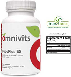 Omnivits OncoPlus ES | Broccoli Seed Extract (Truebroc)| 100 mg Concentrated Glucoraphanin (Sulforaphane Glucosinolate or SGS) | Antioxidant & Detoxification Support | 60 Vegetarian Capsules
