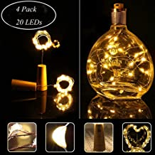 HASTHIP® Cork Led Light| 2M 20 Led Battery Powered Copper Wire Glass Wine Fairy String Lights Decorative Lights for Bedroom, Parties, Decoration(4 Pack, Warm White)