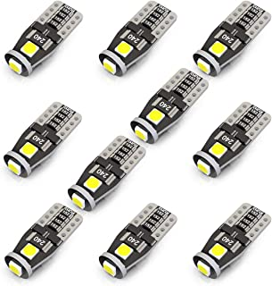 KAFEEK 10x T10 Wedge 194 168 2825 W5W LED Bulbs, Super Bright 3-3030 Chipset,CAN-Bus error free, Non-polarity, Interior Lights, License Plate Dome Map Door Courtesy Park Lights,Xenon Withe