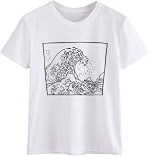 Romwe Women's Short Sleeve Top Casual The Great Wave Off Kanagawa Graphic Print Tee Shirt