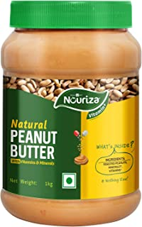 Nouriza Natual Peanut Butter with Added Vitamins & Minerals, Unsweetened, (Creamy, 1 Kg)