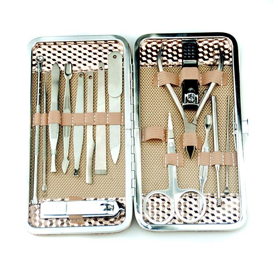 リットル腹痛切る16イン1ステンレス鋼爪切りセット、マニキュアペディキュアグルーミングキット女性用、ネイルケアキットポータブル収納ケース付き