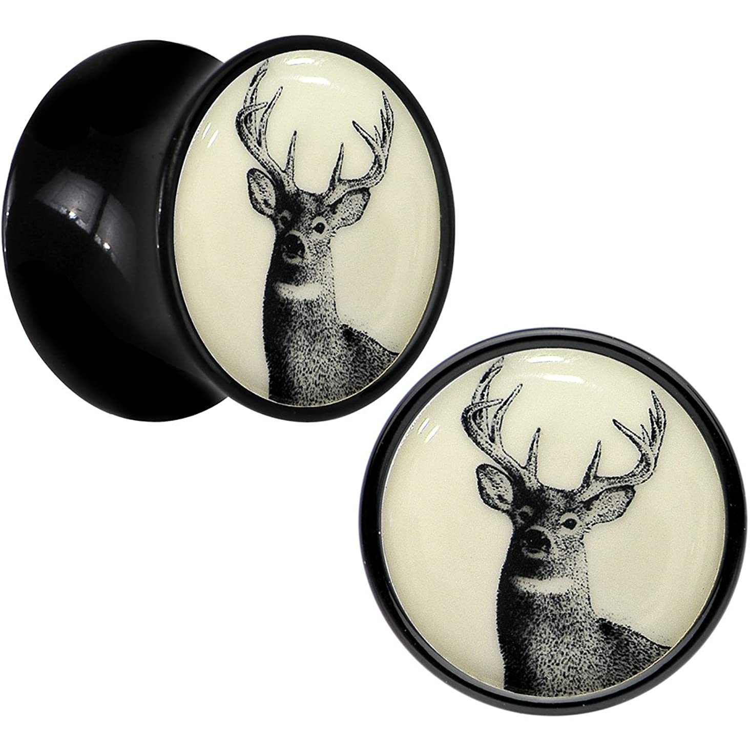 Body Candy Black Acrylic Buck Deer Glow in The Dark Saddle Ear Gauge Plug Pair 13mm