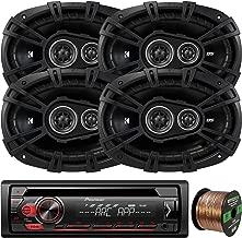 Pioneer DEH-S1100UB Single-DIN CD Player AM/FM Car Stereo Receiver, 4 x Kicker 43DSC69304 DS-Series 6x9 360W 3-Way Car Audio Coaxial Speakers, 16-Gauge 50Ft. Speaker Wire