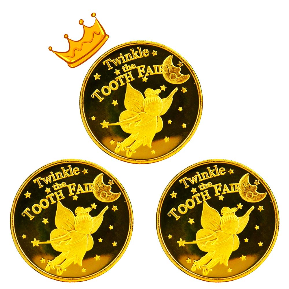 Tooth Fairy Coins for Lost Tooth Kids with Gold-Plated,1.7Inch, Set of 3