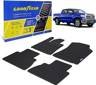Goodyear Custom Fit Car Floor Liners for Toyota Tundra 2014-2021 CrewMax, Black/Black 4 Pc. Set, All-Weather Diamond Shape...