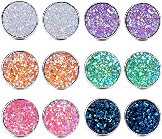 Dolovely Stainless Steel Druzy Stud Earrings Set for Girls Women Hypoallergenic Pierced Earrings