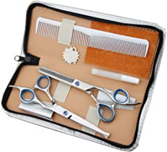 Hair Scissors Professional Hairdressing Scissors Round Head Flat Cut Bangs Cut Teeth Cut Thin Cut Home Haircut Tools Set Scissors (Color : Blue)