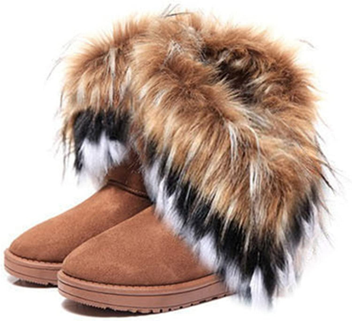 Better Annie Women Flat Ankle Snow Boots Fur Boots Winter Warm Snow shoes Round-Toe Female Flock Leather Women shoes