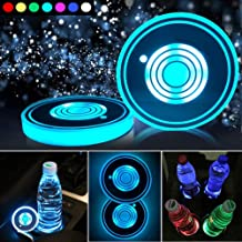 LED Car Cup Holder Lights,7 Colors Changing USB Charging Mat Waterproof Cup Pad,LED Interior Atmosphere Lamp Decoration Li...