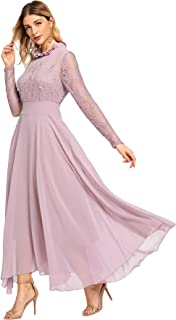 Milumia Women's Vintage Floral Lace Long Sleeve Ruched Neck Flowy Long Dress