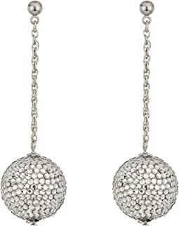 Pave Ball On Silver Chain Drop Post Earrings