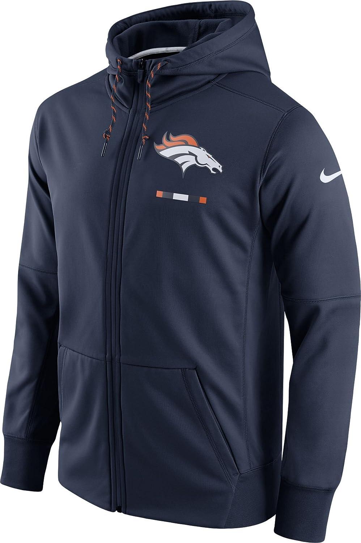 Nike Men's College Navy Denver Broncos Therma Fit Full Zip Sideline Hoodie
