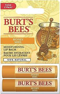 Burt's Bees Balsamo labbra idratante naturale, miele con cera d'api, confezione da 2 tubetti - 30 g