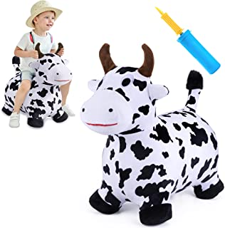 iPlay, iLearn Cow Hopping Horse, Outdoors Ride On Bouncy Animal Play Toys, Inflatable Hopper Plush Covered with Pump, Acti...