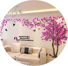 2019 Lovers Tree Wall Stickers Living Room Sofa Background 3D Acrylic Crystal Wall Sticker DIY Home Art Wall Decor,Black-Rose Red-Right,L About 1.5x3m
