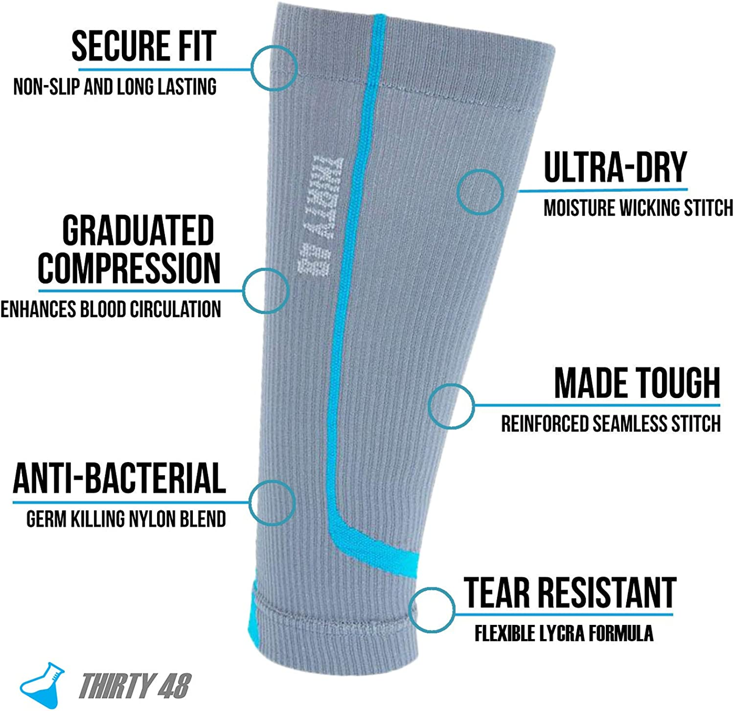 Maximize Fast Recovery by Increasing Oxygen to Muscles Graduated Calf Compression Sleeves by Thirty48 15-20 OR 20-30 mmHg