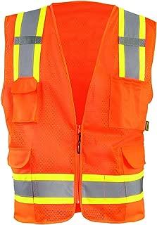 OccuNomix ECO-ATRNSM-OXL High Visibility Value Mesh Two-Tone Zipper Surveyor Safety Vest, Class 2, 100% ANSI Polyester Mesh, X-Large, Orange