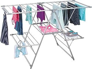 Séchoir à linge argenté mDesign - idéal comme étendoir, séchoir parapluie, étendant, séchoir à lessive - pliable, beaucoup...