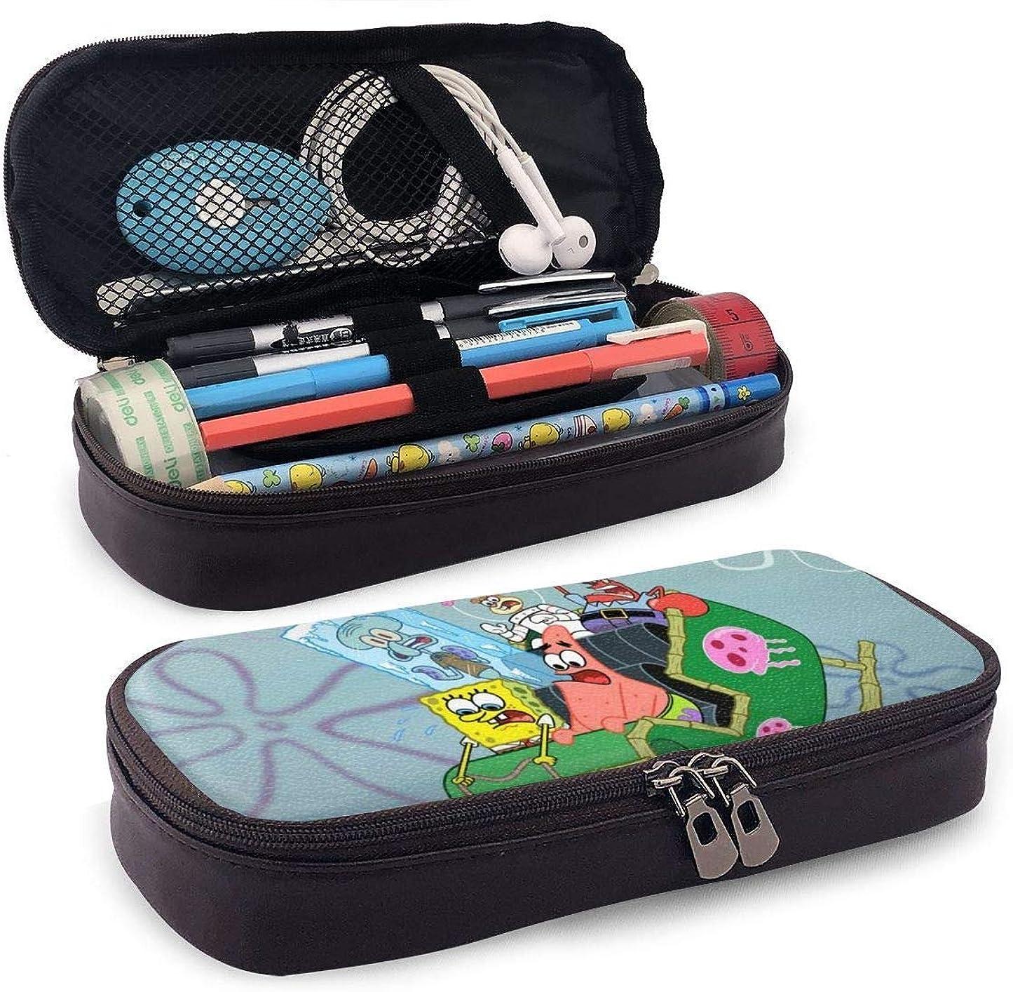 ヘビー物理的な透明に星月屋 スポンジボブ Spongebob SPONGE BOB ペンケース 筆箱 文具ケース おしゃれ 筆袋 Puレザー 大容量 高校生 学生用 かわいい 化粧ポーチ ペン 色鉛筆 文具 収納 多機能ケース 収納ポーチ