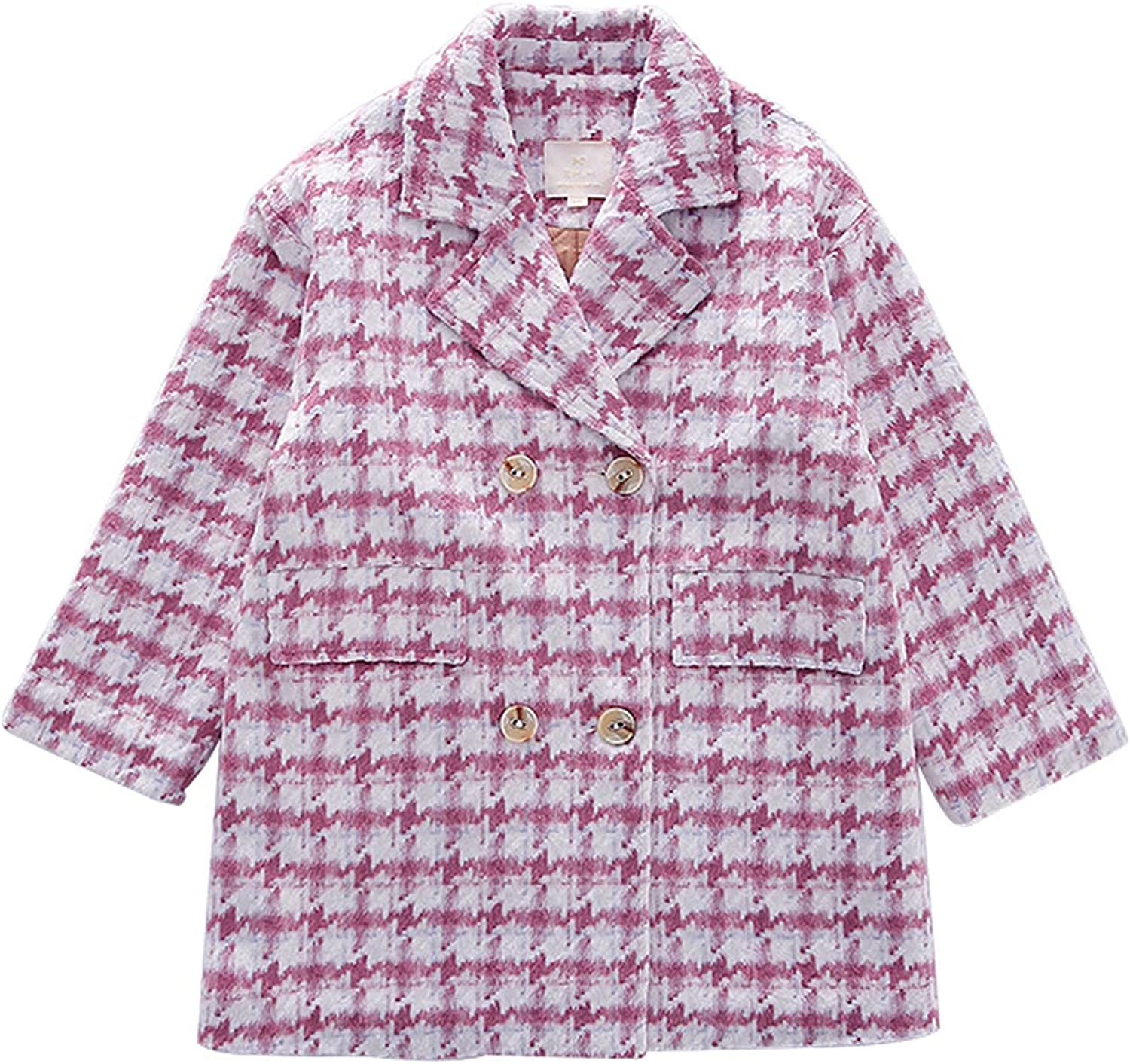 Girls Kids Plaid Checked Wool Coat Winter Single Breasted Button Jacket Trench Coat