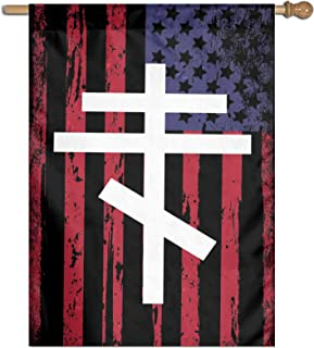 """Yifang Eastern Orthodox Cross Garden Flag 27""""X37"""" Inch Banner for Indoor/Outdoor Decor"""