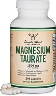Magnesium Taurate Supplement For Sleep, Calming, and Cardiovascular Support (1,500mg per Serving, 210 Vegan Capsules) Made...