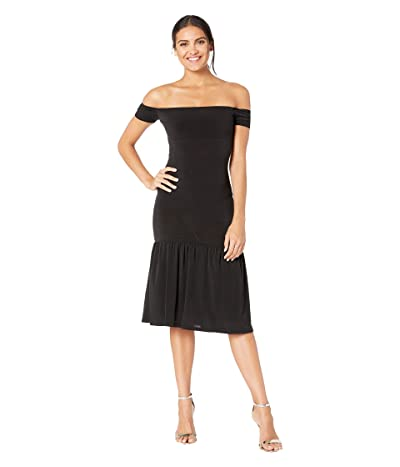 BCBGeneration Off Shoulder Knit Midi Dress YDM6210308 (Black) Women