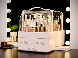 EN'DA professional Makeup Train Case Clear See-Through Display Large Space Makeup Organize Case with 3 Sperate Drawers Waterproof Toiletries Cosmetic Organizer (White)